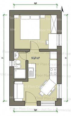 Resultado de imagem para planta baixa de miniapartamento estreita e comprida Tiny House Cabin, Tiny House Design, Small House Plans, House Floor Plans, Studio Apartment Floor Plans, Studio Apartment Layout, Apartment Plans, Hotel Floor Plan, Compact House