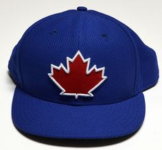 Toronto Blue Jays Fitted 7 3 8 NEW ERA 59FIFTY MLB Blue Hat Cap Red Maple  Leaf 2bd62005e498