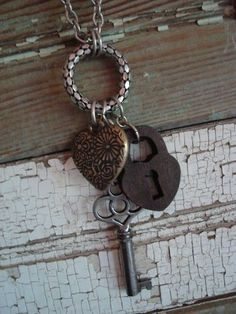 key, lock, and heart necklace