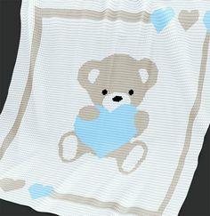 Crochet Pattern Baby Blanket Pattern Sweet by PatternWorldUK Crochet Afghans, Crochet Motifs, Baby Afghans, Afghan Crochet Patterns, Baby Patterns, Knitting Patterns, Manta Crochet, Crochet Bear, Knitted Baby Blankets