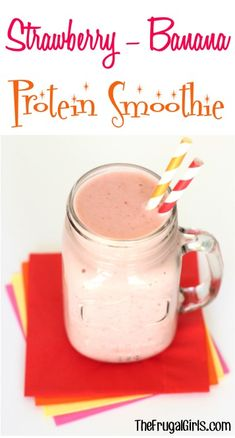 Strawberry Banana Protein Smoothie Recipe from such a healthy delicious smoothie packed with fruit and protein smoothies recipes thefrugalgirls Strawberry Banana Protein Smoothie Recipe, Whey Protein Smoothies, Protein Smoothie Recipes, Healthy Green Smoothies, Yummy Smoothies, Healthy Drinks, Pineapple Smoothies, Strawberry Smoothies, Diabetic Smoothies