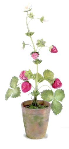 Tole & porcelain Strawberry with flowers, 10 in. - All objects are handmade. Flowers are made of porcelain. Tole leaves and stems are made of painted copper. – Vladimir Kanevsky, Fine Porcelain.
