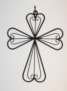 Metal Wrought Iron Cross Wall Decor Candle Holder   Gray #Unbranded