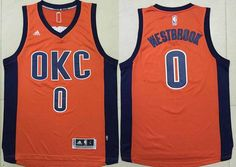 Oklahoma City Thunder #0 Russell Westbrook Revolution 30 Swingman 2015-16 New Orange Men's Jersey