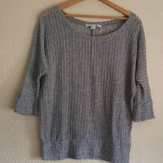 Gray forever 21 sweater Gray sweater from forever 21. Very unique loose knit and in good condition. Somewhat see through. Cute with cami. Has 3/4 length sleeves. Size large but can fit smaller sizes for a more oversized look. Forever 21 Sweaters Crew & Scoop Necks