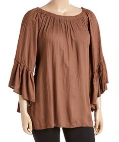 Look what I found on #zulily! Brown Crinkled Bell-Sleeve Top - Plus #zulilyfinds