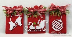 I have some fast and easy tags to share with you today. I love how crisp white images look against a red background for Christmas projects. The addition of a multi loop gingham bow and a few. Noel Christmas, Christmas Gift Tags, Christmas Paper, Xmas Cards, Christmas Projects, Christmas Stockings, Handmade Gift Tags, Candy Cards, Marianne Design