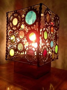 Bicycle Art Stained Glass Lamp by VeloGioielli on Etsy, $375.00