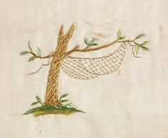 Cape  1795–1800 detail, tree, hammock, embroidery