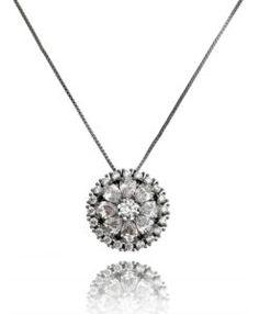 colar delicado com zirconias cristais e banho de rodio negro semi joias finas