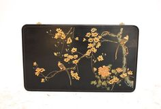 #Vintage #asian black #lacquer panel. Thick layers of carved black lacquer with flowers and birds on a rare panel style of coromandel. 1970s