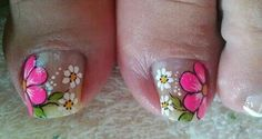 Toe Nail Flower Designs, Toe Nail Designs, Pretty Toe Nails, Pretty Toes, Summer Toe Nails, Spring Nails, Manicure And Pedicure, Pedicures, Nail Art Videos