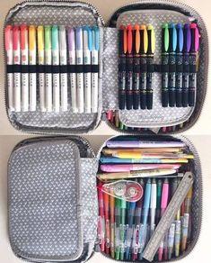 Diy pencil case: how to make a pencil case stationery//inspo Diy Pencil Case, Pencil Pouch, Pencil Cases, Stationary School, School Stationery, Kipling 100 Pens Case, Lettering Brush, Dorm Room Storage, Storage Organization