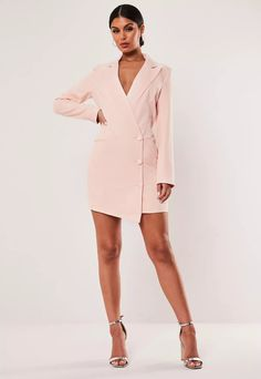 a long sleeve blazer dress featuring button detail with asymmetric wrap over detail. regular fit Mini - Sits Mid Thigh Polyester Elastane Susie wears a UK size 8 / EU size 36 / US size 4 and her height is Going Out Dresses, Dresses For Work, Prom Dresses, Formal Dresses, Blazer Dress, Discount Shopping, Latest Dress, Missguided, Pink Dress