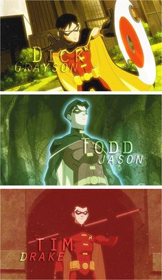 The 3 Robins of Young Justice: Dick Grayson, Jason Todd, Tim Drake