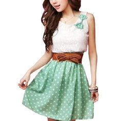 Allegra K Women Bowknot Detail Scoop Neck Dots Print Mini Dress Green M w Belt $11.05