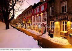 Row Of Houses In Winter Quebec City Quebec Canada Montreal Quebec, Quebec City, Image Photography, Royalty Free Photos, Winter Wonderland, Wander, The Row, Places Ive Been, Canada