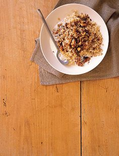 Bulgar Breakfast Bowl with Dried Figs  -Figs are also a good source of iron and calcium