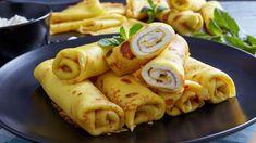 Palacinky s citrónovým tvarohom   Recepty.sk Pancakes, Sausage, Tacos, Breakfast, Ethnic Recipes, Food, Basket, Morning Coffee, Pancake