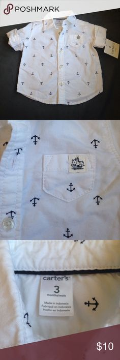 NWT Carter's nautical button down, size 3m NWT Carter's nautical button down, size 3m.  Super cute anchor pattern. Carter's Shirts & Tops Button Down Shirts