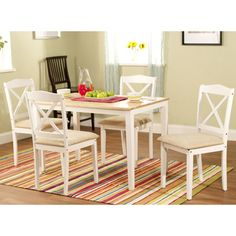 @Overstock - Update your dining area with this stylish five-piece set. This set includes a contemporary rectangular table and four cross-back chairs upholstered in microfiber.http://www.overstock.com/Home-Garden/White-5-piece-Crossback-Dining-Set/6033111/product.html?CID=214117 $197.99