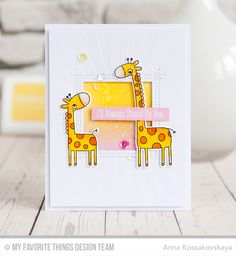 Giraffing Me Crazy Stamp Set and Die-namics, Square Peek-a-Boo Window Die-namics, Radiating Rays Stencil - Anna Kossakovskaya Baby Cards, Kids Cards, Giraffe Colors, Mft Stamps, Animal Cards, My Crazy, Card Tutorials, Cute Cards, Pretty Cards