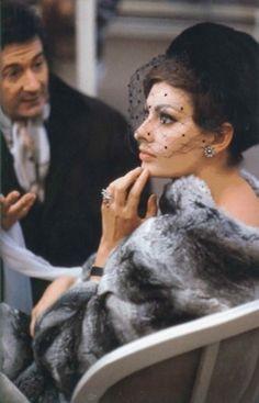 Sophia Loren with a fabulous bird cage veil hat. Gorgeous!