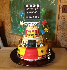 Movie themed cake my girlfriend helped me make for my sons & his best friends 18th birthday party