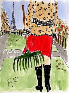 Raking Leaves in Paris I by Fifi Flowers