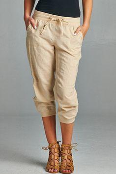 Khaki Linen Jogger Capris