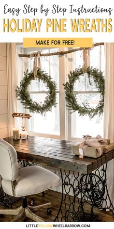 Make these DIY wreaths for FREE without buying a wreath form. Make your own holiday decorations with a few pine tips and hedge branches. This easy craft tutorial will show you how to make these Christmas wreaths and build a rustic window display all wi Winter Home Decor, Winter House, Diy Home Decor, Room Decor, Wall Decor, Christmas On A Budget, Noel Christmas, Elegant Christmas, Christmas Fireplace