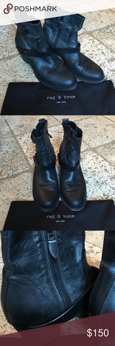 Rag & Bone Booties Beautiful rag & bone booties with straps. Worn several times as evidenced by images. Marks on the inside heel region (image), but broken in and soft. Marked as a 39.5 (US 9.5), but fits more like a US 8.5. Comes with original dust bag. Do not have box. Make an offer! rag & bone Shoes Ankle Boots & Booties