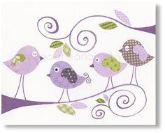 Nursery art prints, baby nursery decor, nursery art, children print, baby art, nursery bird, Purple, Gossip Birds 8x10 print.