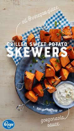 A clever take on traditional fries, these grilled sweet potato pieces taste even better dipped in a creamy Gorgonzola sauce. Fire up the grill and make them tonight with the complete recipe from Kroger.