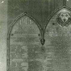 Regina College History (Photo: 1980-20-26)  Title: Regina College Roll of Honour, 1914-1918 (Part 1)