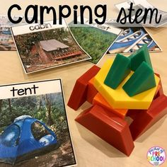 Camping STEM challenges and more camping themed centers and activities for preschool, pre-k, and kindergarten students.