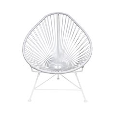 Enjoy the Mayan tradition of woven hammocks but with a modern twist. The elegant design is ergonomic and features a sturdy but flexible vinyl cord to maximize comfort. Chair is outdoor-friendly for ult...  Find the Cancun Chair with White Base, as seen in the Glamping in the Lone Star State Collection at http://dotandbo.com/collections/glamping-in-the-lone-star-state?utm_source=pinterest&utm_medium=organic&db_sku=90723