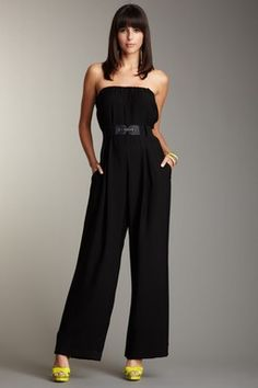 BCBGMAXAZRIA Washed Twill Strapless Jumpsuit....cute but I would choose pink or animal print heels
