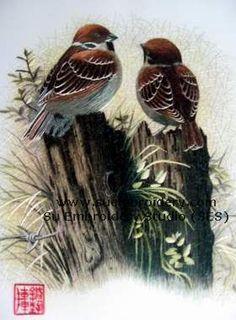 silk embroidered bird work