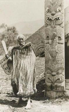 Maori Chieftain holding a Mere (patu or club) New Zealand (Polynesia), n.d.