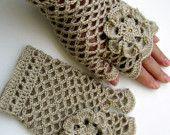 Crochet Lacy Gloves, Beige Fingerless Crochet Gloves With Flower, Ecru Crochet Lace Arm Warmers, Lyubava Crochet