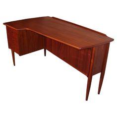 Danish Teak Desk with an Asymmetrical Top  Denmark  1960's