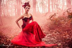 Adrian Farr - Fashion - Photography - Conceptual - Model - Female - Fantasy - Story - Colour - Dress - Smoke - Love - Roses - Red - Corset - Magic - Mystery - Couture