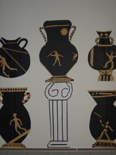 grade ancient Greek paper cut urns and columns; lesson by art teacher: Susan Joe 6th Grade Art, Ancient Art, Ancient Greek, Ancient History, Roman Art, School Art Projects, Greek Art, Collaborative Art, Middle School Art