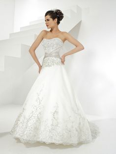 Ball Gown Sweetheart Lace Satin Chapel Train Embroidery Wedding Dresses Shop uk