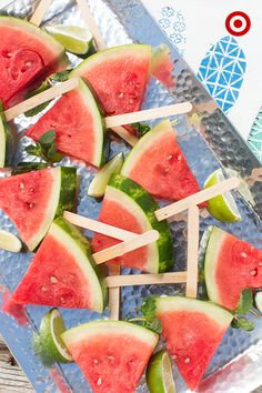 A fun take on a summer staple: Serve watermelon on a stick for an easy, yet chic presentation that both kids and adults will love. Serve on a hammered, silver platter to elevate the look.