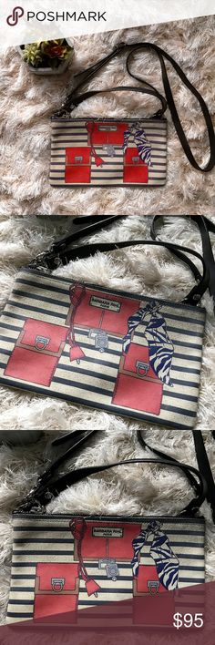 Barbara Rihl Paris Crossbody Purse Leather Black Gorgeous and simple bag, white & black stripes with pocket and scarf painted detail. Short fixed strap and adjustable, removable longer strap for cross body style. Imported and made in France. No trades, no PP or otherwise, please don't ask-Happy Shopping! Barbara Rihl Bags Crossbody Bags