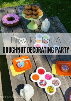 These Doughnut Decorating Party ideas would be great for a birthday party, slumber party or brunch for kids! Perfect for National Doughnut Day in June!