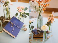 library inspired wedding book centerpieces utah wedding florist calie rose www.calierose.com
