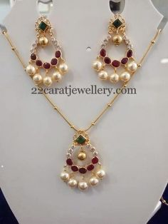 22 carat gold simple fancy necklace with chandbali pendant. Studded with CZ, ruby and emerald stones studded in the center. It carries su. Gold Earrings Designs, Gold Jewellery Design, Necklace Designs, Handmade Jewellery, Gold Jewelry Simple, Pandora, India Jewelry, Jewelry Patterns, Bridal Jewelry